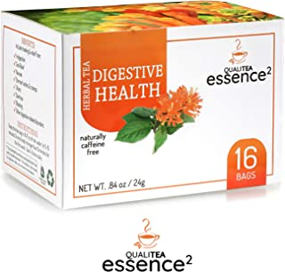 QualiTea E2 Stomach Ease Tea - Natural Herbal Remedy for Nausea Relief, Indigestion, Upset Tummy, Keto Constipation, Gas, Diarrhea – 16 Bags Detox Cleanse Digestive Health & Wellness Blend, Spearmint