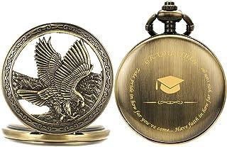 SIBOSUN Personalized Pocket Watch Engraved Birthday Graduation Son Brother Boyfriend Eagle Scout Quartz