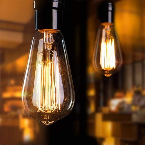 Vintage Edison Light Bulbs 6Pcs E26 Base Dimmable Antique Filament Light Bulbs 60 Watt Decorative Incandescent Light ...