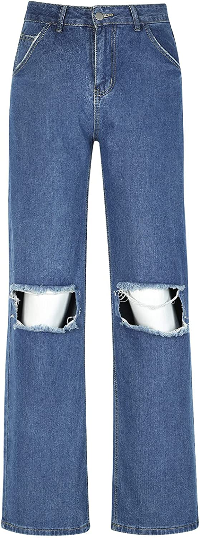 Euone_Clothes Pants for Women Casual, Women Button High Waist Pocket Solid Color Jeans Trousers Loose Denim Pants