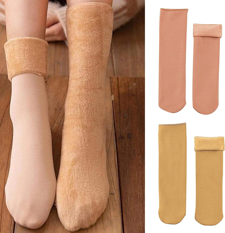 Gelentea 5 pares de calcetines de nieve para mujer con forro polar grueso calcetines para el hogar