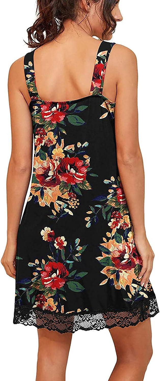 Fankle Women's Nightgown Sexy Sleep Paisley/Leopard Shirt Dress V Neck Sleeveless Lace Trim Soft Short Nightshirts