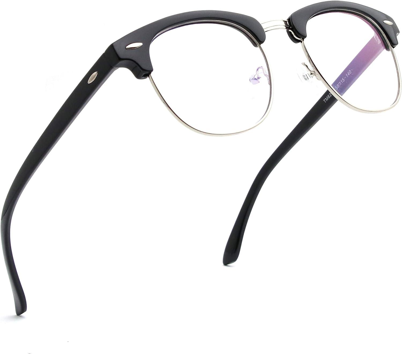 ENSARJOE Blue Light Blocking Glasses Semi Rimless Nerd Eyeglasse