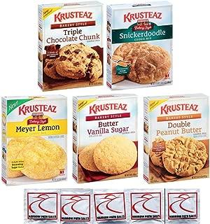 KRUSTEAZ Cookie Mix Variety Pack - Bundle of 5 Different Flavors - Triple Chocolate, Snickerdoodle, Peanut Butter, Meyer Lemon, Butter Vanilla. Gift Set