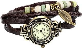 JewelryWe Women Quartz Fashion Weave Wrap Around Leather Bracelet Wrist Watch