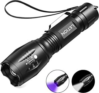 LETION UV Flashlight, LED UV Torch 2 in 1 UV Black Light with 500LM Highlight & 4 Mode & Waterproof IPX 4 for Pet Clothing Food Fungus Detection/Night Fishing/Travel