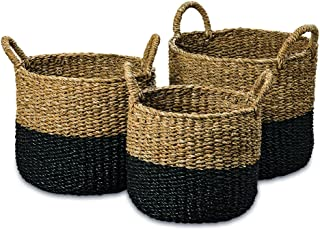 WHW Whole House Worlds Cape Cod Seagrass Baskets, Set of 3, Paint Dipped, Chunky Weave, Nautical Gray, Natural, Barrel Belly with Top Handles, 14-16 Inches T
