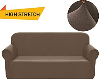 Chelzen Stretch Sofa Covers 1-Piece Polyester Spandex Fabric Living Room Couch Slipcovers (Sofa, Brown)