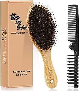 Hair Brush Comb Set Boar Bristle Hairbrush for Curly Thick Long Fine Dry Wet Hair,Best Travel Bamboo Paddle Detangler Deta...