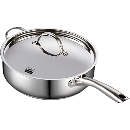 Cooks Standard Classic Stainless Steel Deep Lid 5 Quart/11-Inch Saute Pan, 5 Quart, Silver