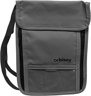 Orbisey Neck Wallet Travel Lightweight Pouch Stash for Passport Money Cards (Gray)