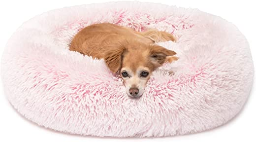 Friends Forever Donut Cat Bed, Faux Fur Dog Beds for Medium Small Dogs - Self Warming Indoor Round Pillow Cuddler Pink & Tan