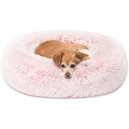 50cm Dogs and Cats Kittens Dog Chews Ultra Fluffy Round Calming Doughnut Pet Bed Suitable for Puppies Small , Beige Machine Washable.