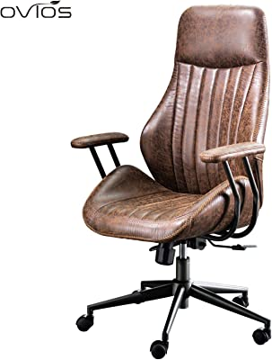 ovios Ergonomic Office Chair,Modern Computer Desk Chair,high Back Suede Fabric Desk Chair with Lumbar Support for Executive or Home Office Grey