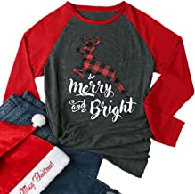 Be Merry and Bright Plaid Reindeer Baseball T-Shirt Women 3/4 Sleeve O-Neck Splicing Holiday Top Tees