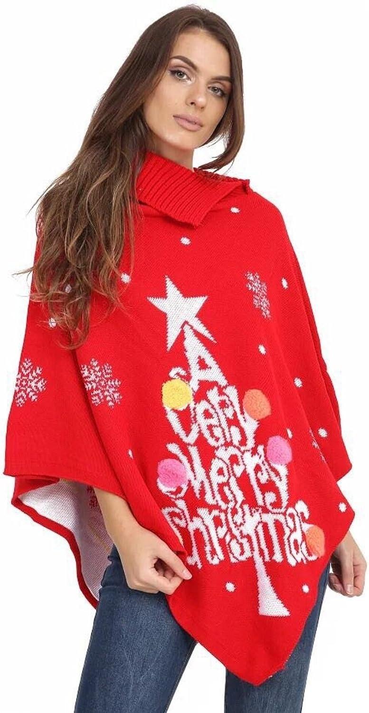 GirlzWalk Women Christmas Snowflake Pom Pom Vintage Poncho 4-22