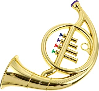 Kids French Horn Toy Musical Wind Instruments Music Horn Trumpet Horn Children Toy Trumpet Golden