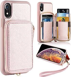 "ZVE iPhone XR Wallet Case iPhone XR Case with Credit Card Holder Slot Shockproof Protective Leather Wallet Zipper Pocket Purse Handbag Wrist Strap Case for Apple iPhone XR 6.1"" (2018) Rose Gold"