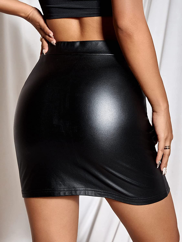 SheIn Women's High Waisted Faux Leather Bodycon Split Slim Mini Pencil Skirt