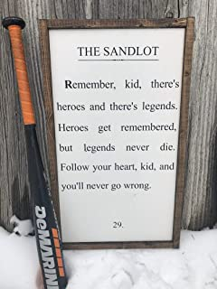 CELYCASY The Sandlot. Heroes get Remembered but Legends Never die. Baseball Wood Sign.