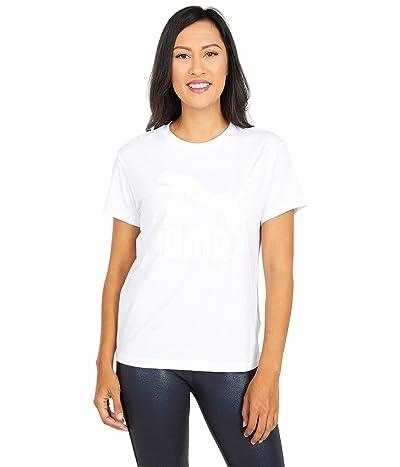 PUMA Classics Logo Tee (PUMA White/Glitter) Women