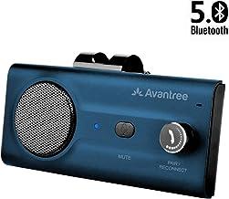 2020 Avantree CK11 Hands Free Bluetooth 5.0 Car Kits, Loud Speakerphone, Support Siri Google Assistant & Motion Auto On Off, Volume Knob, Wireless in Car Handsfree Speaker Kit with Visor Clip - Blue
