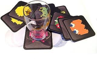 Posavasos Retro Videogame. Estuche con 12 Posavasos Impresos a Color, Cuadrados, absorbentes y Extra Gruesos. Tamaño 9 x 9 cm