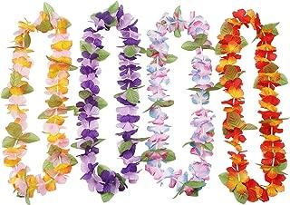 Oojami 12 Hawaiian Ruffled Simulated Silk Flower Leis Novelty (1 Dozen)