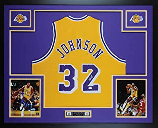 3eed7d3c4 Magic Johnson Autographed Signed   Framed Yellow Lakers Jersey JSA COA D11L  - Size XL