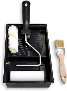TECPINT KIT ESMALTE 2 Mini Rodillos de Pintura Antigoteo y Esmaltar con Cubeta y Pincel - Ideal para Lacar Metal, Madera y esmaltar - Calidad Profesional - 2 Rodillos 11 cm - Brocha 40 mm - Cubeta