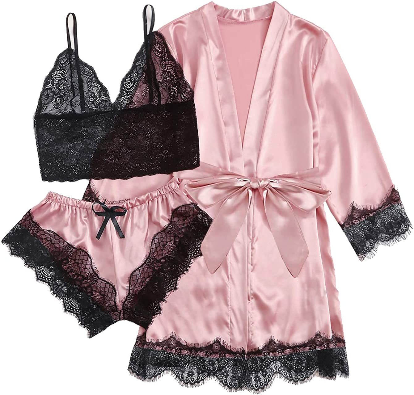 TAKOYI Women's Sexy Lace 3 Piece Satin Robe and Pajama Set Cami Top Lingerie with Robe Camisole Shorts