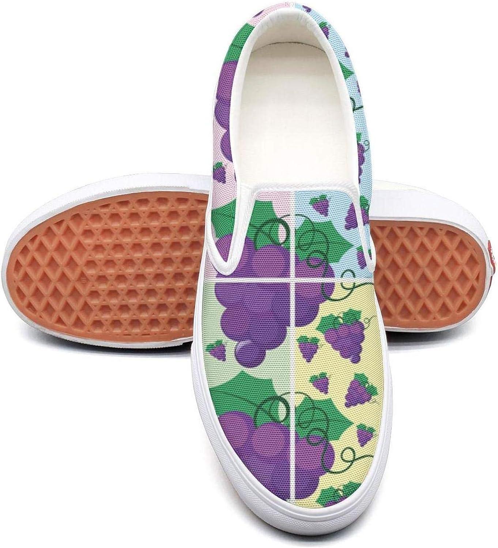 RegiDreae Canvas Slip on Sneakers for Women Grapes Pattern Background Fashion Sneaker