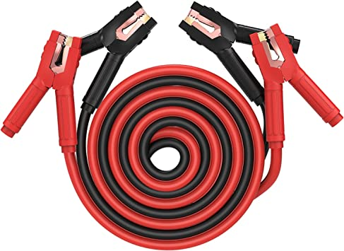 THIKPO G130 Jumper Cables, 1Gauge x 30Ft Booster Cables with Copper Clamps, 12V & 24V jumper cables kit for Car, SUV and Trucks with up to 8-Liter Gasoline and 6-Liter Diesel Engines: image