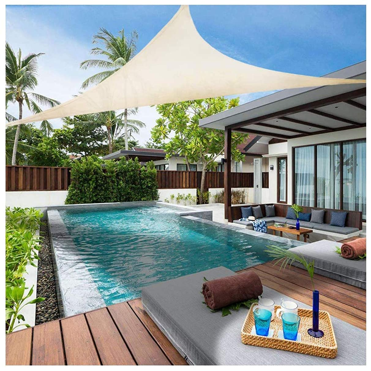 Awnings 6.5'x 6.5'x6.5' Garden Waterproof Mildew Shade Sail 95% Uv Protection Triangle for Garden Pool Terrace Custom Size pai614965