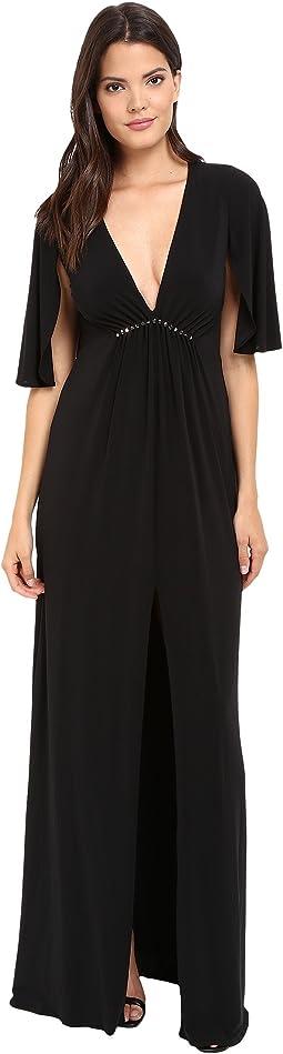Short Flounce V-Neck Jersey Gown