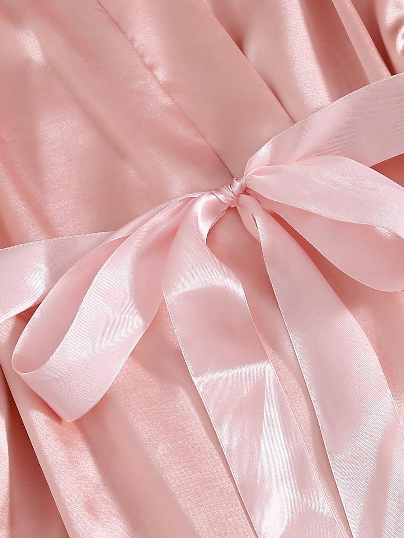 SOLY HUX Womens Sleepwear Floral Lace Trim Satin Cami Pajama Set with Robe