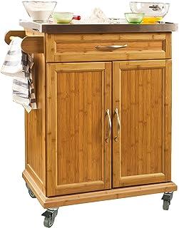SoBuy® FKW13-N Desserte Chariot de Cuisine de Service Roulant, Meuble Armoire de Rangement cusine sur roulettes en Bambou,...