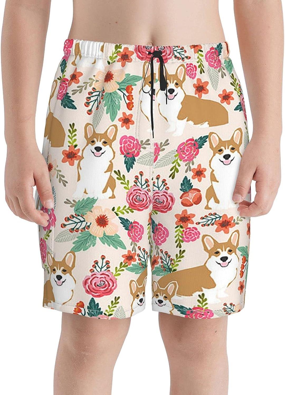 Corgi Long-awaited Florals Boys Swim Trunks Sale special price Boardshorts Teens Beach Sho