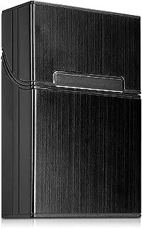 kwmobile Cigarette Case Box Holder - Aluminum Case for Cigarettes with Magnetic Flip Top Closure - Black