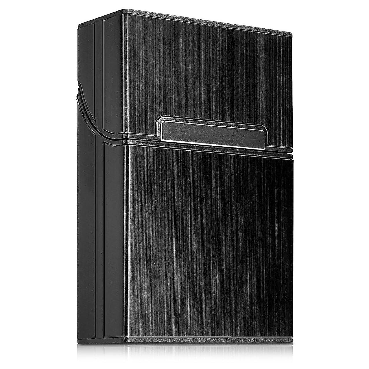 公然と霜キルスkwmobile シガレットケース たばこボックス - アルミニウム カバー マグネットクロージャー付き 黒色