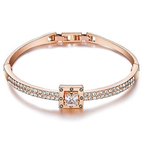 Menton Ezil Princess Crystal Bracelet Rose Gold Luxury Jewelry Adjustable Bangle  Bracelets for Womens Girls Wife 11fdb0ea91