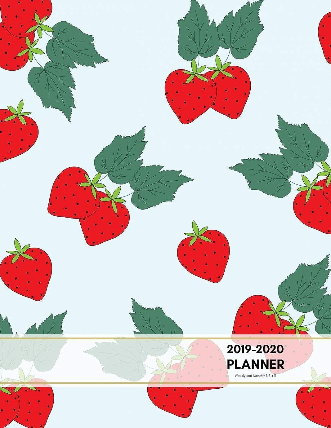 ねじれ神秘的な採用2019-2020 Planner Weekly and Monthly 8.5 x 11: Strawberry Theme Calendar Schedule Organizer and Journal Notebook (January 2019 - December 2020) (Academic Year)