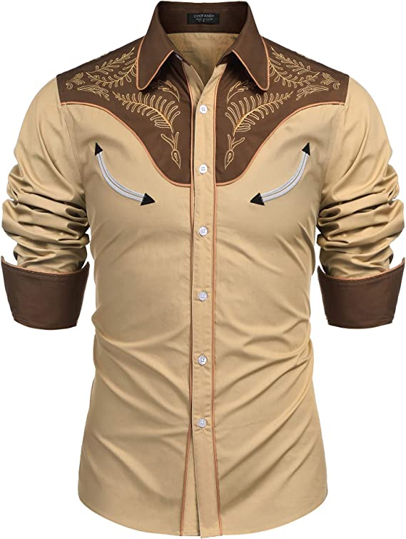 Men's Vintage Clothing | Retro Clothing for Men COOFANDY Mens Western Cowboy Embroidered Long Sleeve Button Down Shirt  AT vintagedancer.com