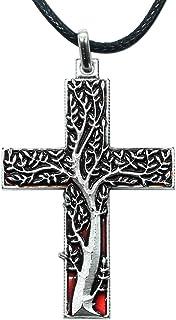Croce Albero della Vita Rosso - Pendente placcato argento con collana – Idea Regalo portafortuna per donna, pensierino aug...
