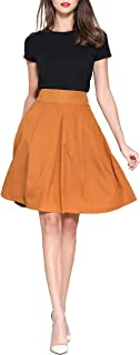 Pytha Sight Women's A-Line Flowing Midi Skirt High Waist Pleated Twill Skirt with Pockets