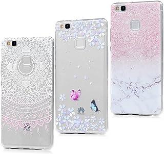 3x Funda Huawei P9 Lite, Carcasa Silicona Gel Case Ultra Delgado TPU Goma Flexible Cover para Huawei P9 Lite - Mármol + Totem Rosa + Mariposa
