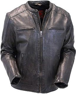 Jamin' Leather - Men's Vintage Black Leather Scooter Jacket w/CCW Pockets #MA2530ZVV