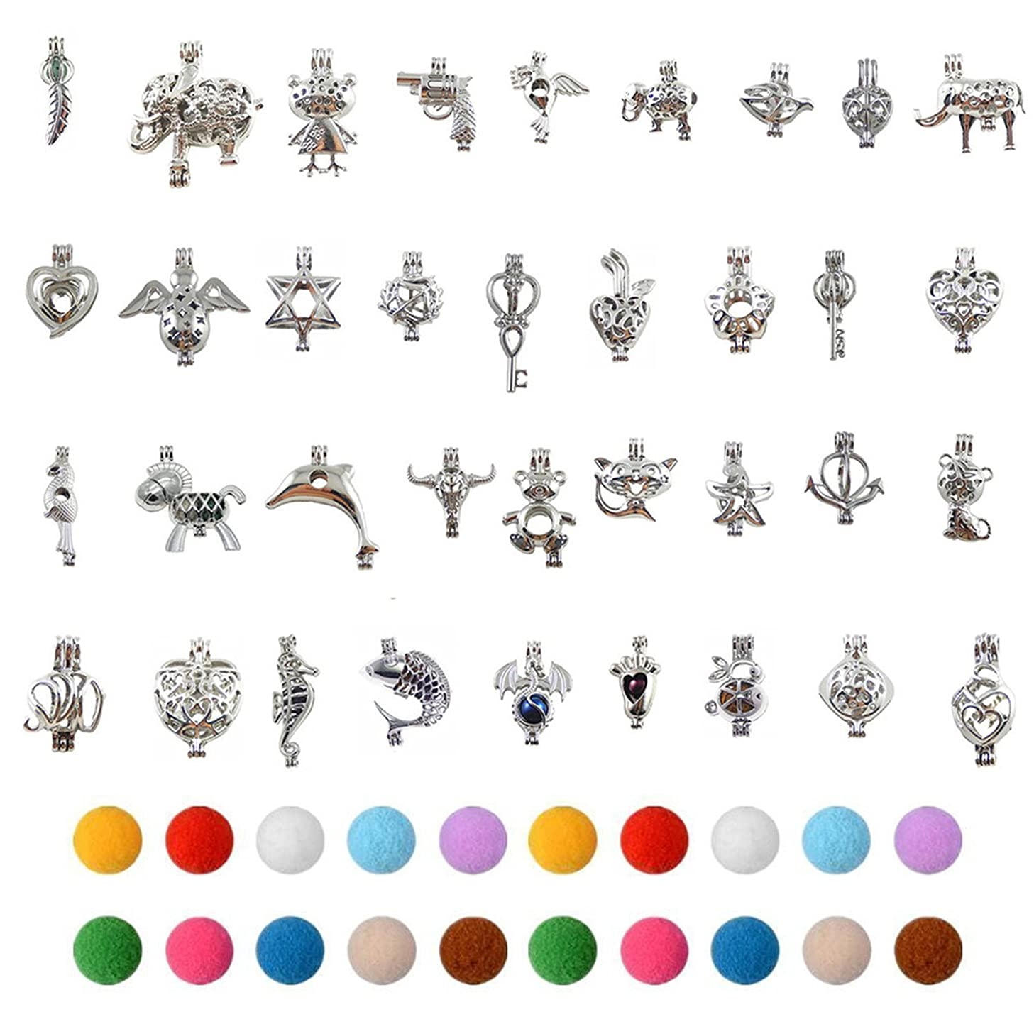 JJG 20PCS Assorted Silver Plated Pearl Bead Cage Pendant Small Lockets Charms for Aromatherapy Essential Oil Diffuser Necklace Bracelet Making
