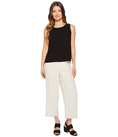 Eileen Fisher Straight Cropped Pants (Bone Silk Georgette Crepe) Women
