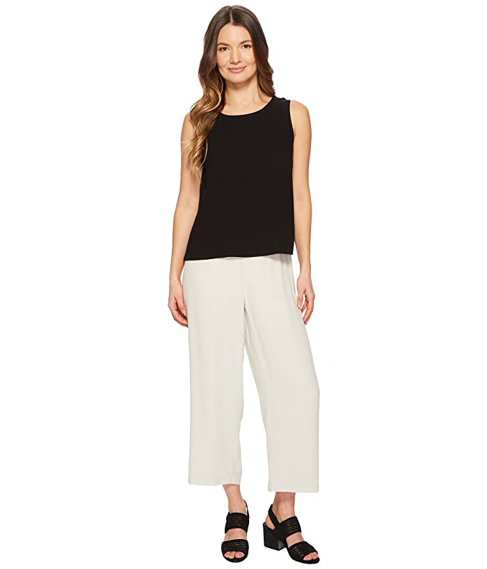 Eileen Fisher  Straight Cropped Pants (Bone Silk Georgette Crepe) Womens Casual Pants